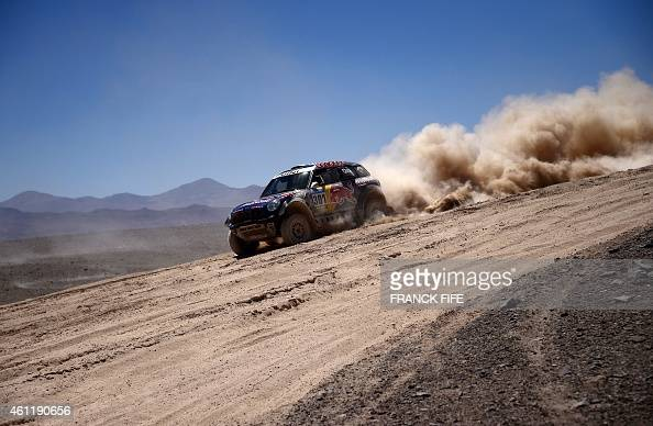 Mini's driver Nasser AlAttiyah of Qatar and codriver Mathieu Baumel of France compete during the Stage 5 of the Dakar 2015 between Copiapo and...