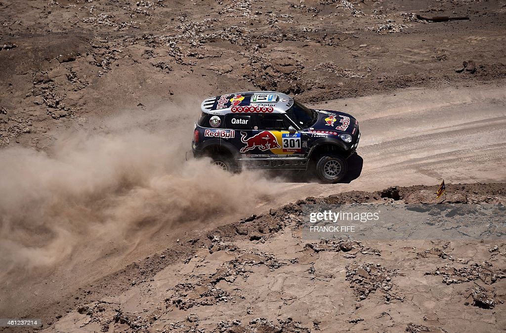 Mini's driver Nasser AlAttiyah of Qatar and codriver Mathieu Baumel of France compete during the 2015 Dakar Rally stage 6 between Antofogasta and...