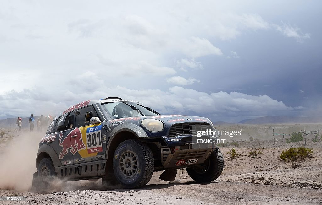 Mini's driver Nasser AlAttiyah of Qatar and codriver Mathieu Baumel of France compete during the Stage 7 of the Dakar 2015 between Iquique in Chile...