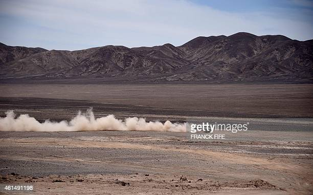 Mini's driver Nasser AlAttiyah of Qatar and codriver Mathieu Baumel of France compete during the Stage 9 of the Dakar 2015 between Iquique and Calama...