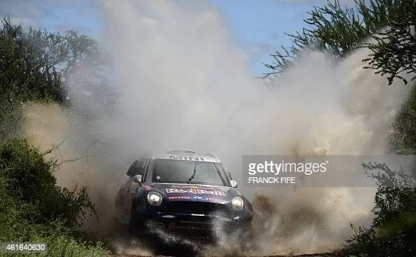 Mini's driver Nasser AlAttiyah of Qatar and codriver Mathieu Baumel of France compete during the Stage 12 of the 2015 Dakar Rally between Termas de...