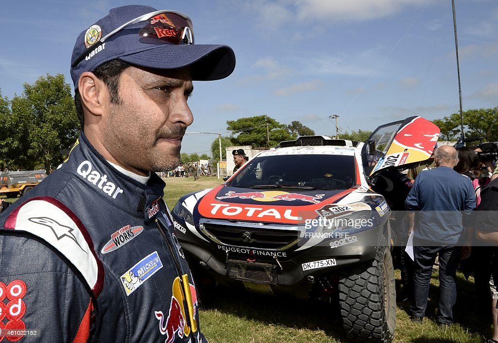 Mini's driver Nasser AlAttiyah of Qatar gets ready for the 2015 Dakar Rally stage 1 between Buenos Aires and Villa Carlos Paz Argentina on January 4...