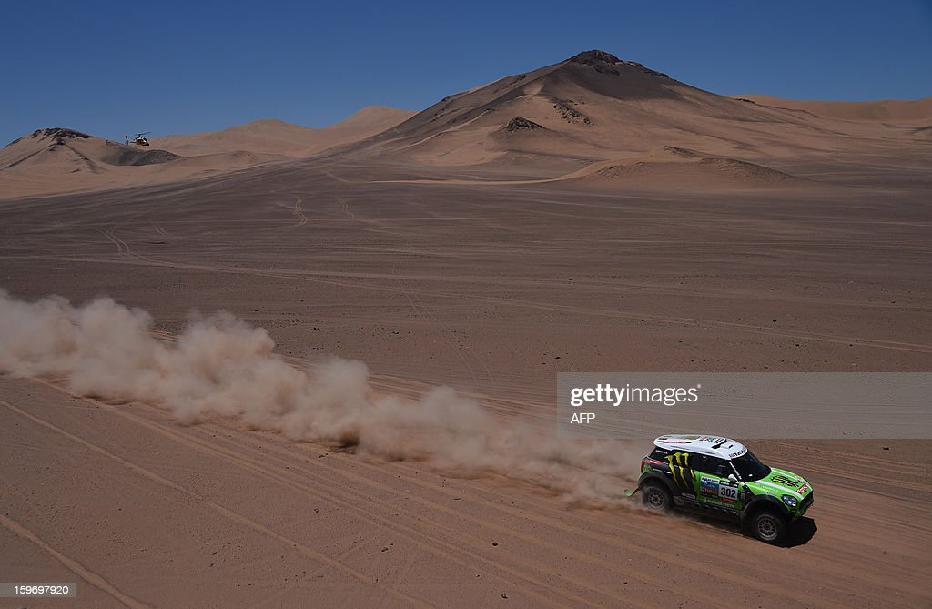 Mini's driver Stephane Perterhansel and co-driver Jean Paul Cottret, both of France, compete in the Stage 13 of the 2013 Dakar Rally between Copiapo and La Serena, in Chile, on January 18, 2013. The rally is taking place in Peru, Argentina and Chile from January 5 to 20.
