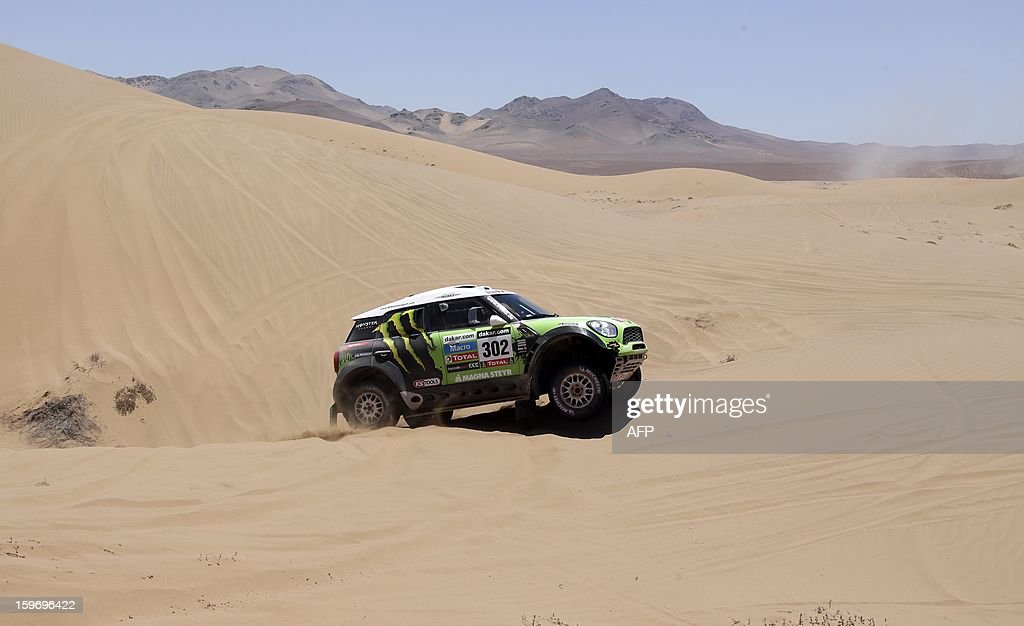 Mini's driver Stephane Perterhansel of France and co-driver Jean Paul Cottret compete during the Stage 13 of the 2013 Dakar Rally between Copiapo and La Serena, in Chile, on January 18, 2013. The rally is taking place in Peru, Argentina and Chile from January 5 to 20.