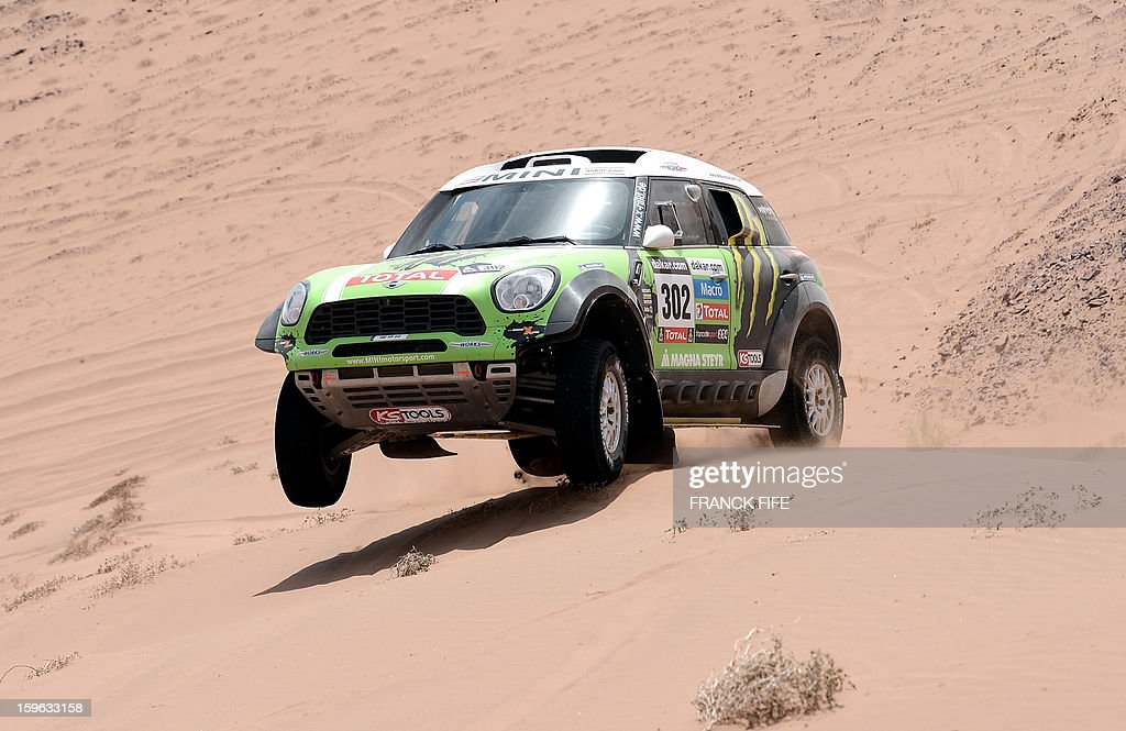 Mini's driver Stephane Perterhansel of France competes during the Stage 12 of the 2013 Dakar Rally between Fiambala in Argentina and Copiapo in Chile, on January 17, 2013. The rally is taking place in Peru, Argentina and Chile from January 5 to 20. AFP PHOTO / FRANCK FIFE