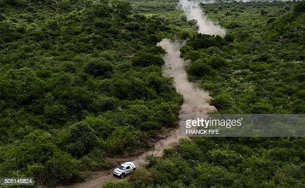 Mini's Mirko Hirvonen of Finland and codriver Michel Perrin from France compete in Stage 12 of the Dakar 2016 between San Juan and Villa Carlos Paz...