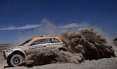 Mini's Portuguese driver Carlos Sousa and codriver Paulo Fiuza compete during the Stage 5 of the Dakar 2015 between Copiapo and Antofogasta Chile on...