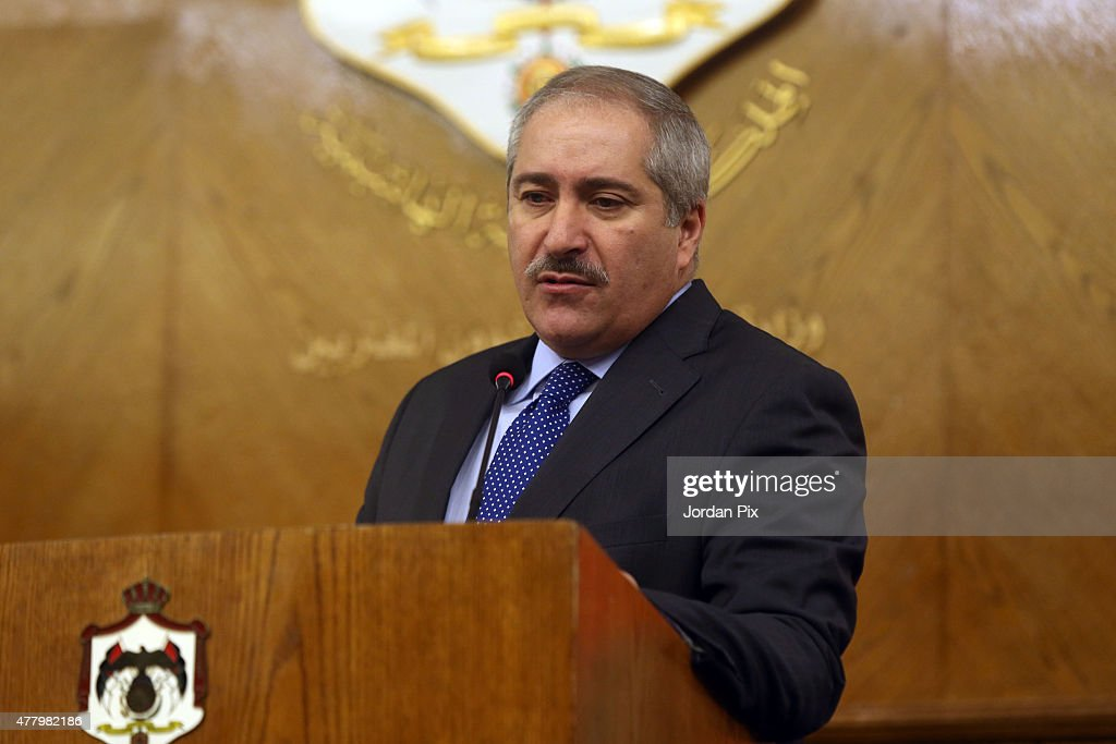 Miniser <a gi-track='captionPersonalityLinkClicked' href=/galleries/search?phrase=Nasser+Judeh&family=editorial&specificpeople=3465453 ng-click='$event.stopPropagation()'>Nasser Judeh</a> during a press conference with French minister of foreign affairs Laurent Fabius holds on June 21, 2015 in Amman, Jordan. Fabius is in the Middle East region to push a French peace initiative between Israel and the Palestinians.