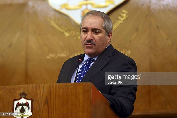 Miniser Nasser Judeh during a press conference with French minister of foreign affairs Laurent Fabius holds on June 21 2015 in Amman Jordan Fabius is...