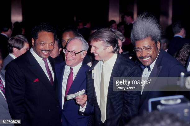 Minister and Politician Jesse Jackson entrepreneur Malcolm Forbes and Businessman Donald Trump with Promoter Don King at Tyson vs Holmes Convention...