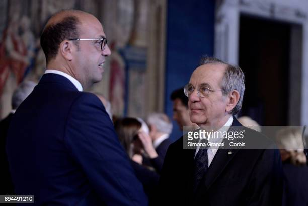 Minister Angelino Alfano and Pier Carlo Padoan during the visit of Pope Francis to the Quirinale on June 10 2017 in Rome Italy