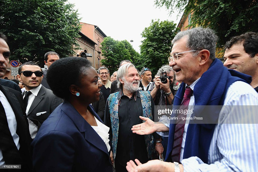Minister Cecile Kienge (L) former PM <a gi-track='captionPersonalityLinkClicked' href=/galleries/search?phrase=Romano+Prodi&family=editorial&specificpeople=203301 ng-click='$event.stopPropagation()'>Romano Prodi</a> ( R ) attend the celebration of the 100th anniversary of Cirenaica Neighborhood on June 9, 2013 in Bologna, Italy.