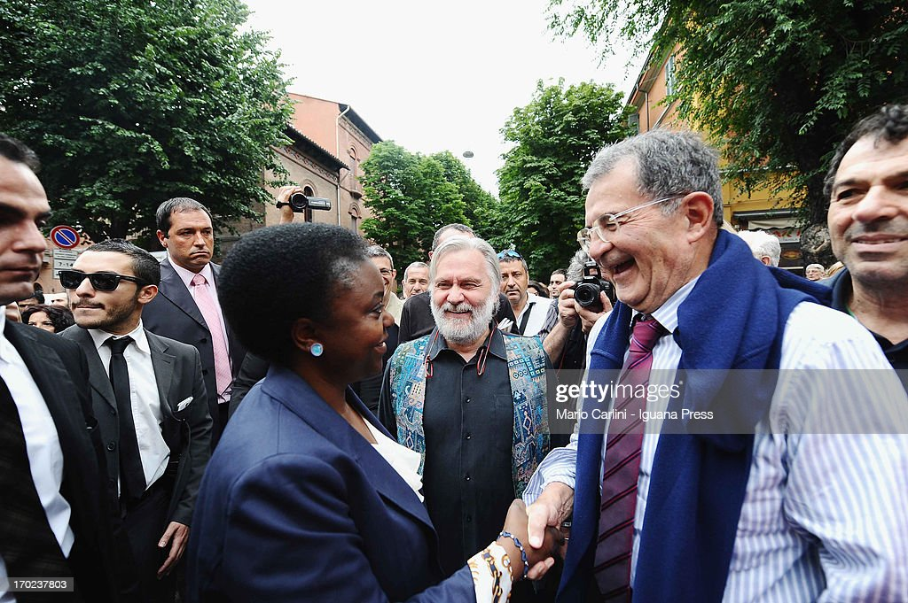 Minister Cecile Kienge (L) former PM Romano Prodi ( R ) attend the celebration of the 100th anniversary of Cirenaica Neighborhood on June 9, 2013 in Bologna, Italy.