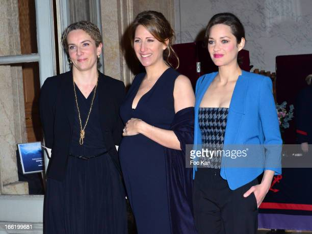 Minister Delphine Batho Maud Fontenoy and Marion Cotillard attend the Maud Fontenoy Foundation Annual Gala Arrivals at Hotel de la Marine on April 9...