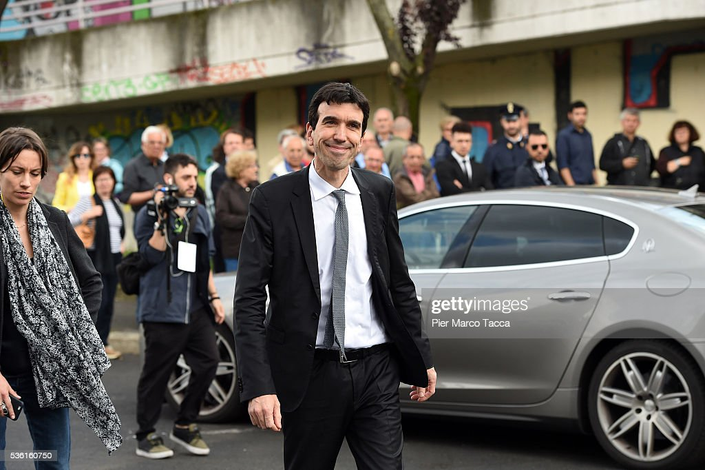 Minister for Agricultural Policies Maurizio Martina leaves the rally in support of Democratic candidate for mayor of Milan, Giuseppe Sala, on May 31, 2016 in Milan, Italy. The Milan mayoral elections are due to take place on June 5, 2016.