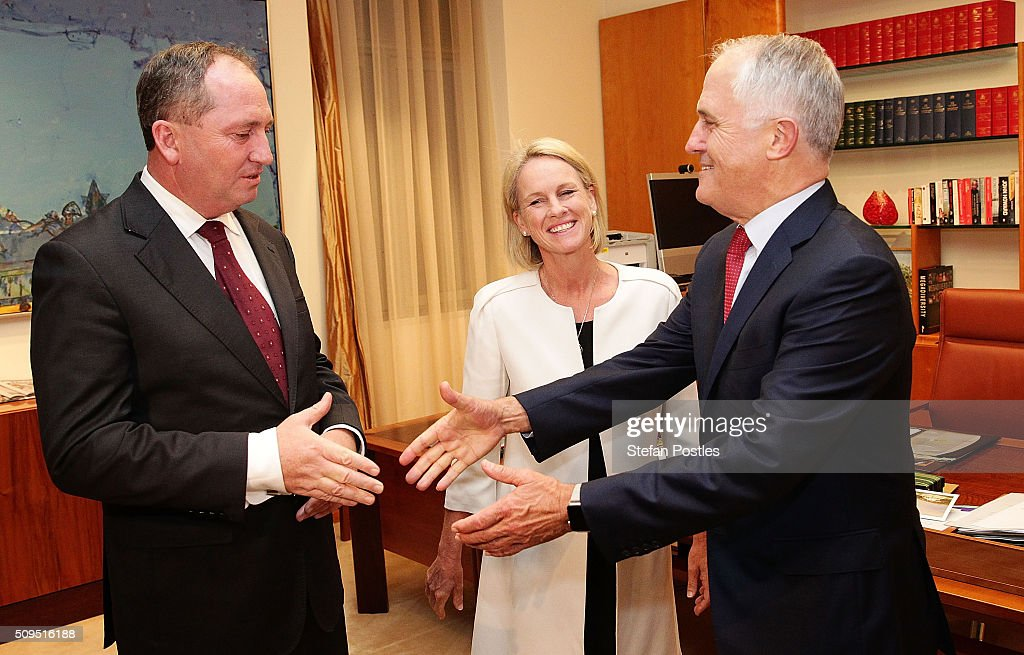 Minister for Agriculture and Water Resources Barnaby Joyce is congratulated by Prime Minister <a gi-track='captionPersonalityLinkClicked' href=/galleries/search?phrase=Malcolm+Turnbull&family=editorial&specificpeople=2125595 ng-click='$event.stopPropagation()'>Malcolm Turnbull</a> after becoming the new Leader of the National Party at Parliament House on February 11, 2016 in Canberra, Australia. Warren Truss announced his retirement earlier on Thursday, triggering a leadership ballot.