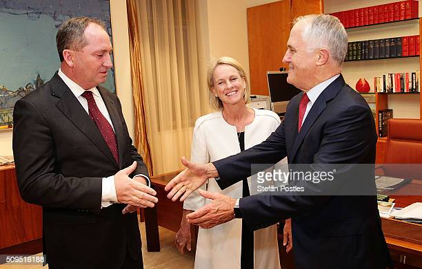 Minister for Agriculture and Water Resources Barnaby Joyce is congratulated by Prime Minister Malcolm Turnbull after becoming the new Leader of the...