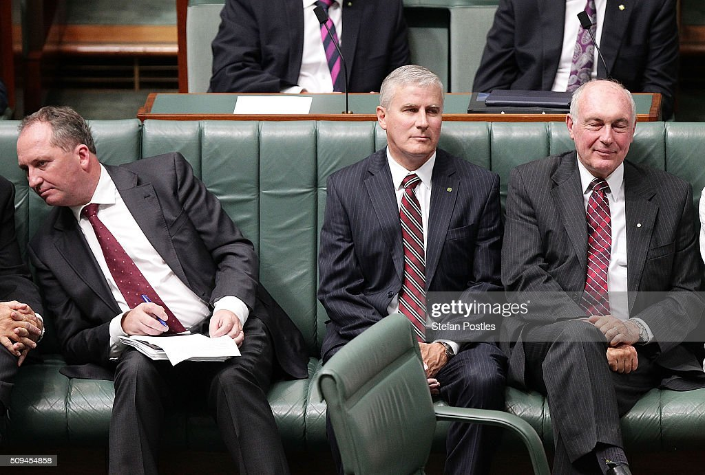 Minister for Agriculture and Water Resources Barnaby Joyce, Michael McCormack and Deputy Prime Minister Warren Truss listen to Prime Minister Malcolm Turnbull in the House of Representatives on February 11, 2016 in Canberra, Australia. Nationals Leader and Deputy Prime Minister Warren Truss and Trade Minister Andrew Robb will retire at the next election.