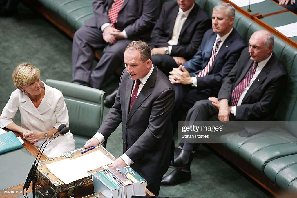 Minister for Agriculture and Water Resources Barnaby Joyce speaks about Deputy Prime Minister Warren Truss after he announced his retirement in the House of Representatives on February 11, 2016 in Canberra, Australia. Nationals Leader and Deputy Prime Minister Warren Truss and Trade Minister Andrew Robb will retire at the next election.