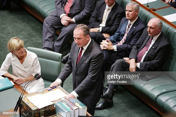 Minister for Agriculture and Water Resources Barnaby Joyce speaks about Deputy Prime Minister Warren Truss after he announced his retirement in the...