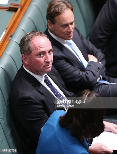 Minister for Agriculture Barnaby Joyce during a division in the House of Representatives question time at Parliament House on June 1 2015 in Canberra...