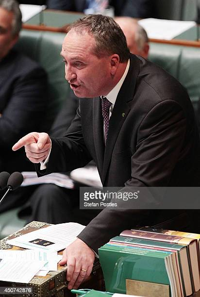 Minister for Agriculture Barnaby Joyce during the house of representatives Question time on June 17 2014 in Canberra Australia News today broke that...