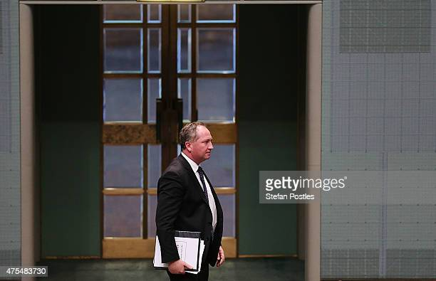 Minister for Agriculture Barnaby Joyce leaves House of Representatives question time at Parliament House on June 1 2015 in Canberra Australia