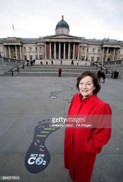 Minister for Climate Change Joan Ruddock MP spearheads the Government's Act on CO2 campaign with a series of giant footprints in Trafalgar Square...