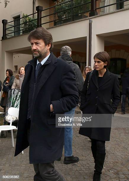Minister for Cultural Assets Dario Franceschini attends the Ettore Scola funeral service at Casa Del Cinema on January 22 2016 in Rome Italy