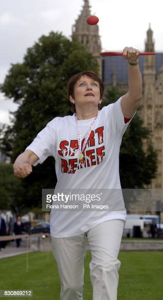 Minister for Culture Media and Sport Tessa Jowell tries her hand at the cross party 'Westminster Egg and Spoon Race' in aid of Sport Relief Jowell...