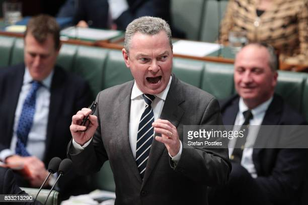 Minister for Defence Industry Christopher Pyne during House of Representatives question time at Parliament House on August 17 2017 in Canberra...
