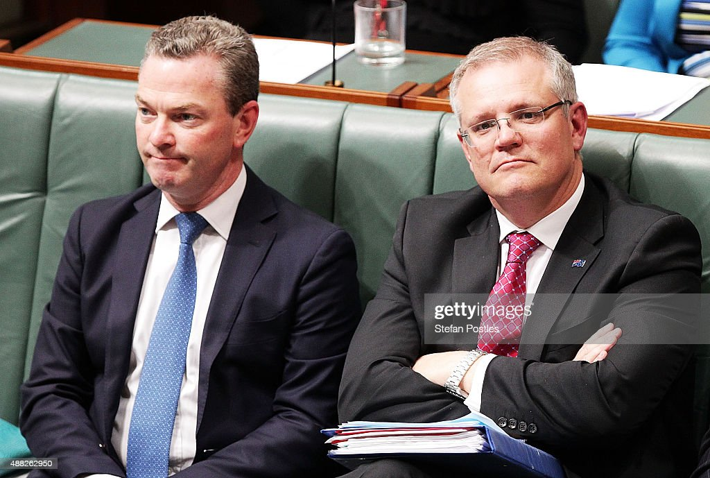Minister for Education and Training Christopher Pyne and Minister for Social Services <a gi-track='captionPersonalityLinkClicked' href=/galleries/search?phrase=Scott+Morrison+-+Politician&family=editorial&specificpeople=15789813 ng-click='$event.stopPropagation()'>Scott Morrison</a> during House of Representatives question time at Parliament House on September 15, 2015 in Canberra, Australia. Malcolm Turnbull will become the 29th Prime Minister of Australia after he defeated Tony Abbott 54 votes to 44 in a snap leadership ballot on Monday night. Julie Bishop remains deputy leader of the Liberal party following the spill.