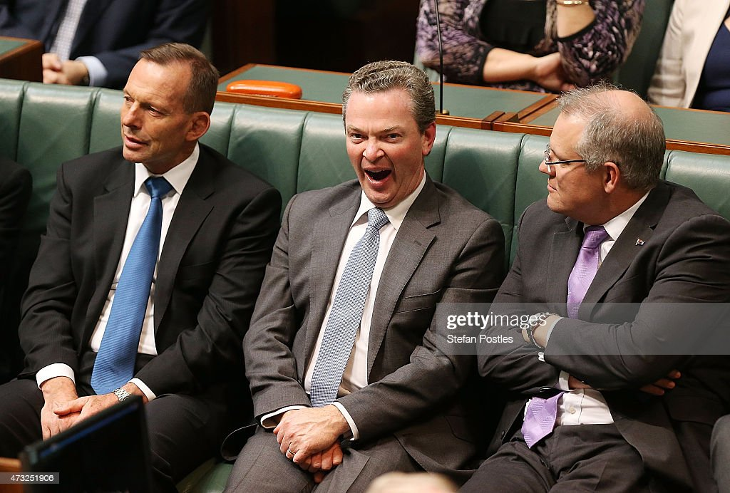 Minister for Education and Training Christopher Pyne reacts to Opposition leader <a gi-track='captionPersonalityLinkClicked' href=/galleries/search?phrase=Bill+Shorten&family=editorial&specificpeople=606712 ng-click='$event.stopPropagation()'>Bill Shorten</a>'s budget reply speech on May 14, 2015 in Canberra, Australia. The Abbott Government's second budget release has discarded the widely criticized cap on Medicare co-payment and includes changes in key areas such youth unemployment benefits, small business tax relief and cuts to foreign aid.