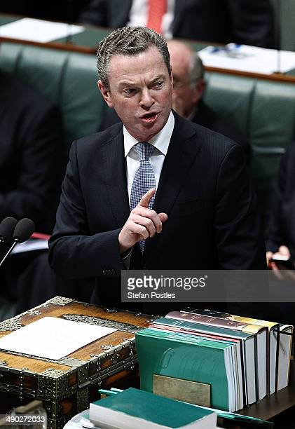 Minister for Education Christopher Pyne during House of Representatives question time at Parliament House on May 14 2014 in Canberra Australia...