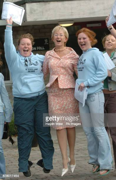 Minister for Education Mary Hanafin celebrates the leaving certificate results with Blackrock School students Claire Tynam 18 and Anne Reid