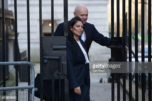 Minister for Employment Priti Patel and Secretary of State for Work and Pensions Iain Duncan Smith arrive to attend a cabinet meeting at 10 Downing...