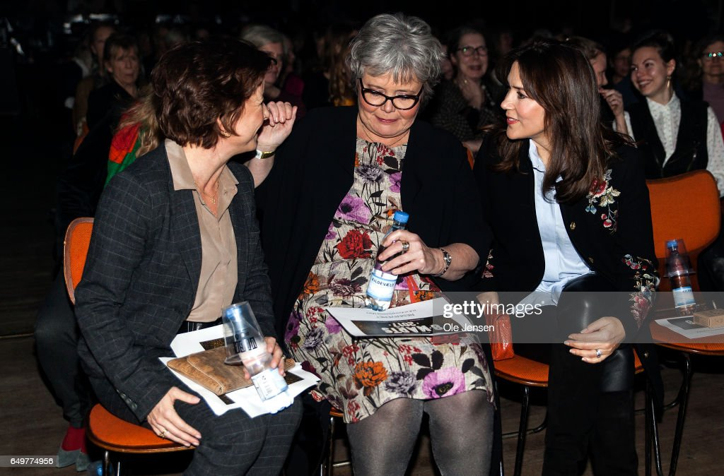 Minister for Equality Karen Ellemann, director Suzanne Moll and Crown Princess Mary of Denmark speak before the show begins at The International Women's Day celebration at Vega on March 8, 2017 in Copenhagen, Denmark.