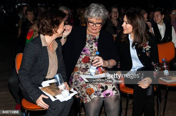 Minister for Equality Karen Ellemann director Suzanne Moll and Crown Princess Mary of Denmark speak before the show begins at The International...