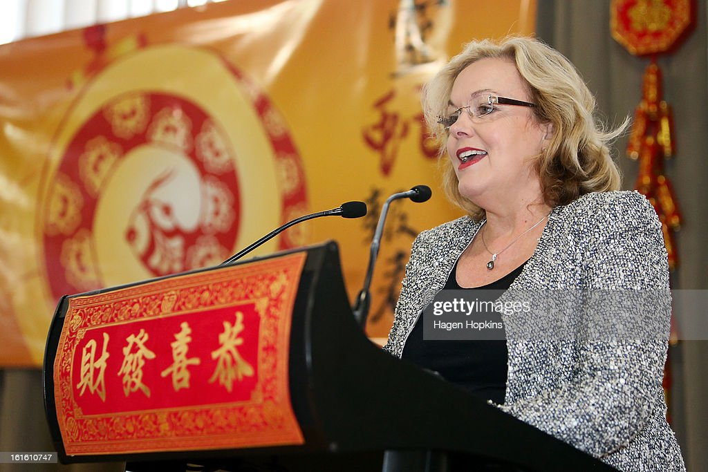 Minister for Ethnic Affairs, Judith Collins speaks during a Chinese New Year Celebration at The Beehive on February 13, 2013 in Wellington, New Zealand. Chinese New year celebrations begin on the first day of the first lunar month in the traditional Chinese calendar and end 15 days later on the full moon.