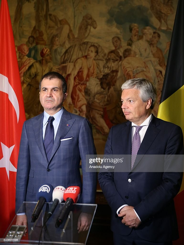 Minister for EU Affairs and Chief Negotiator of Turkey, Omer Celik (L) and Deputy Prime Minister and Foreign Affairs Minister of Belgium, Didier Reynders (R) hold a joint press conference following their meeting, in Brussels, Belgium on June 29, 2016.