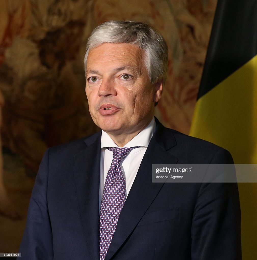 Minister for EU Affairs and Chief Negotiator of Turkey, Omer Celik (not seen) and Deputy Prime Minister and Foreign Affairs Minister of Belgium, Didier Reynders hold a joint press conference following their meeting, in Brussels, Belgium on June 29, 2016.