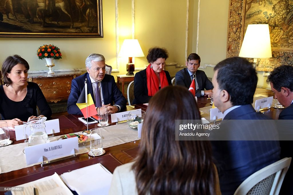 Minister for EU Affairs and Chief Negotiator of Turkey, Omer Celik (2nd R) meets with Deputy Prime Minister and Foreign Affairs Minister of Belgium, Didier Reynders (2nd L) in Brussels, Belgium on June 29, 2016.