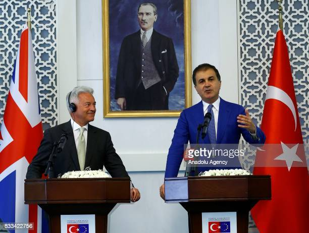 Minister for European Union Affairs of Turkey Omer Celik and United Kingdom Foreign Office Minister Alan Duncan hold a joint press conference in...
