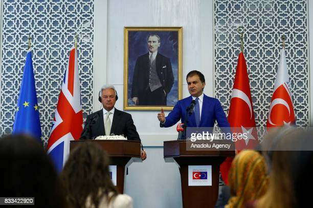 Minister for European Union Affairs of Turkey Omer Celik speaks during a joint press conference with United Kingdom Foreign Office Minister Alan...