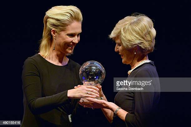 Minister for family affairs Manuela Schwesig and Friede Springer attend the 'Steiger Award 2015' at colliery Hansemann on September 26 2015 in...