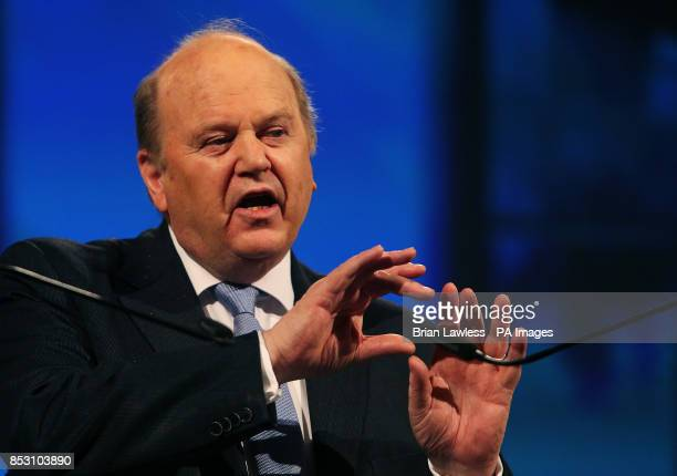 Minister for Finance Michael Noonan at the Fine Gael ard fheis at the RDS Dublin PRESS ASSOCIATION Photo Picture date Saturday March 1 2014 See PA...