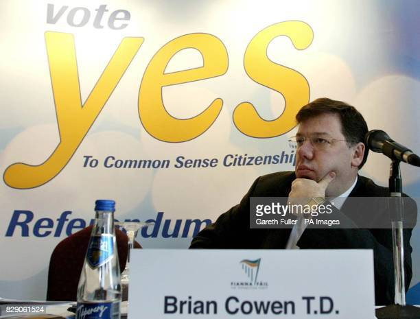 Minister for Foreign Affairs Brian Cowen speaks at a news conference in Dublin outlining the case in favour of the Citizenship Referendum Mr Cowen...