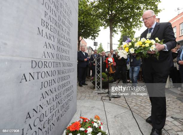 Minister for Foreign Affairs Charlie Flanagan lays a wreath during a memorial ceremony in Dublin's Talbot Street marking the anniversary of the...