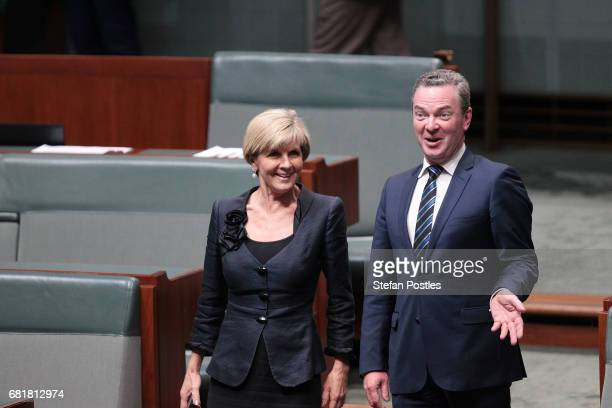 Minister for Foreign Affairs Julie Bishop and Minister for Defence Christopher Pyne arrive to listen to Opposition Leader Bill Shorten deliver his...