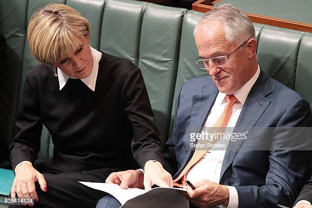 Minister for Foreign Affairs Julie Bishop and Prime Minister Malcolm Turnbull during Opposition leader Bill Shorten's budget reply speech on May 5...